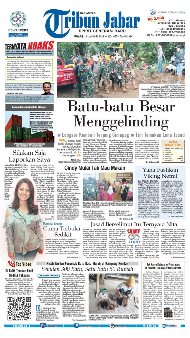 Tribun Jabar Newspaper 04 January 2019 Gramedia Digital