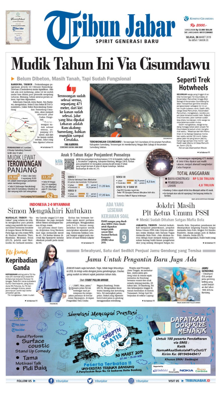 Tribun Jabar Digital Newspaper 26 March 2019