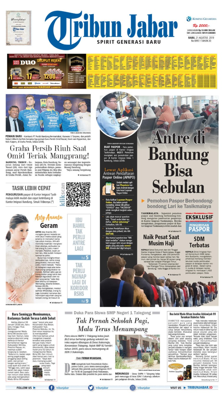 Tribun Jabar Digital Newspaper 21 August 2019
