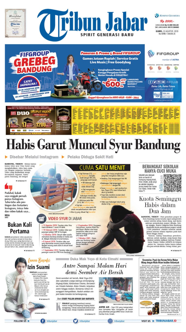Tribun Jabar Digital Newspaper 22 August 2019