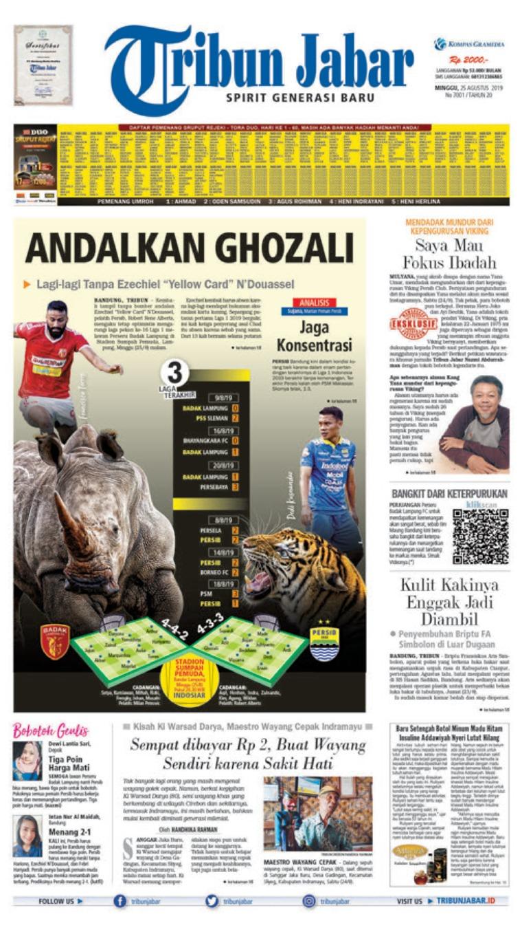 Tribun Jabar Digital Newspaper 25 August 2019
