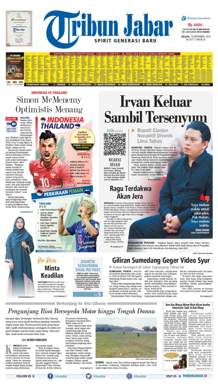 Tribun Jabar Digital Newspaper 10 September 2019