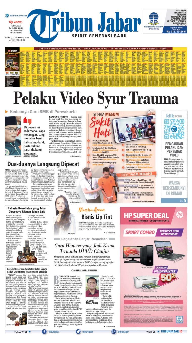 Tribun Jabar Digital Newspaper 21 September 2019