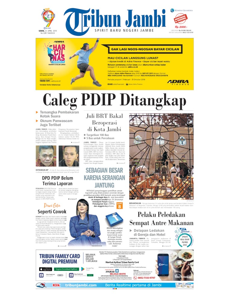 Tribun Jambi Digital Newspaper 22 April 2019