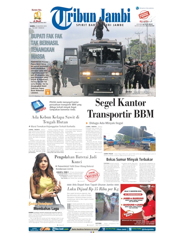 Tribun Jambi Digital Newspaper 22 August 2019