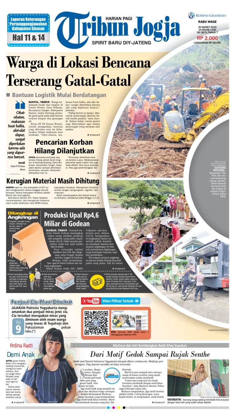 Tribun Jogja Digital Newspaper 20 March 2019