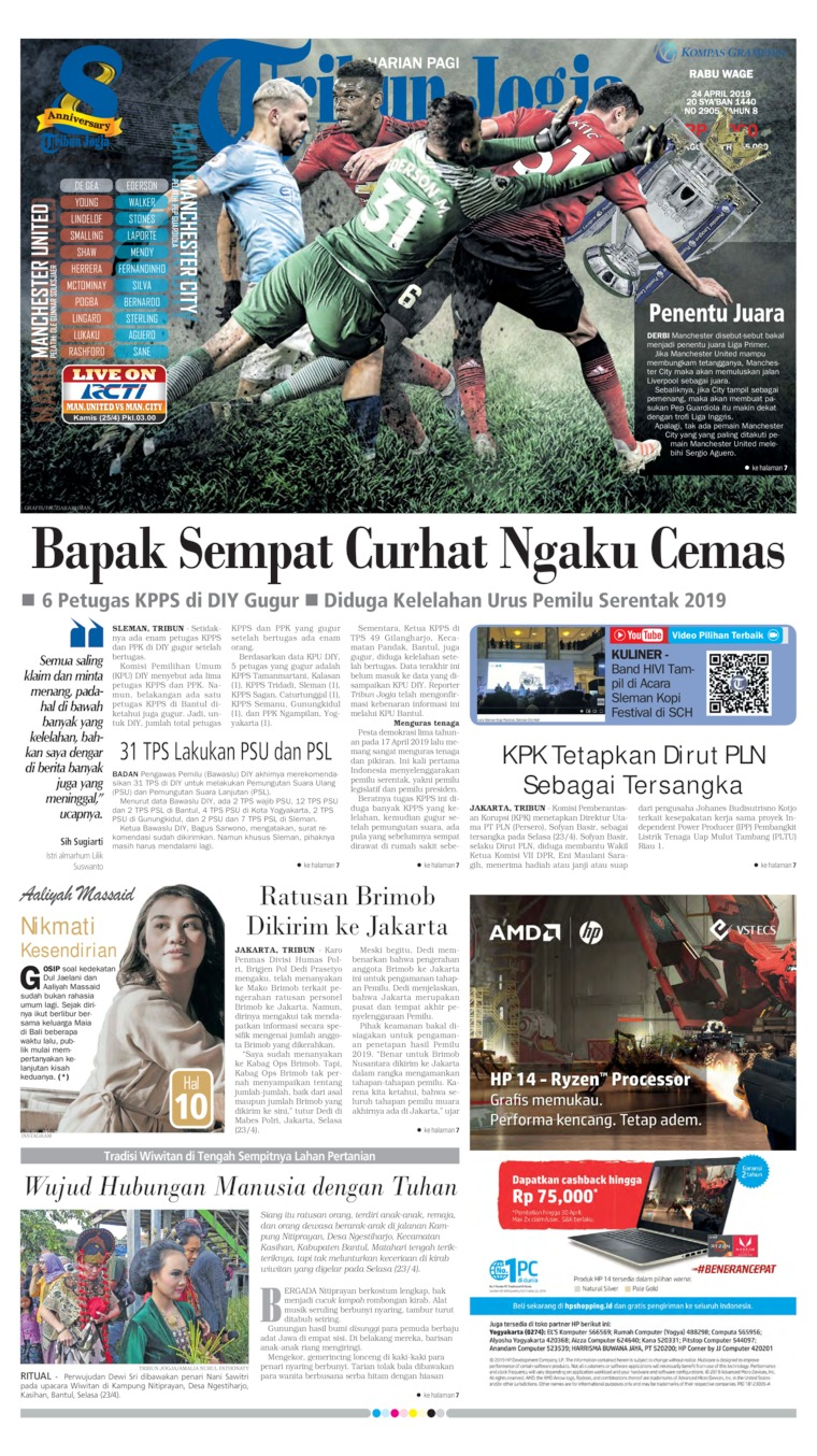 Tribun Jogja Digital Newspaper 24 April 2019