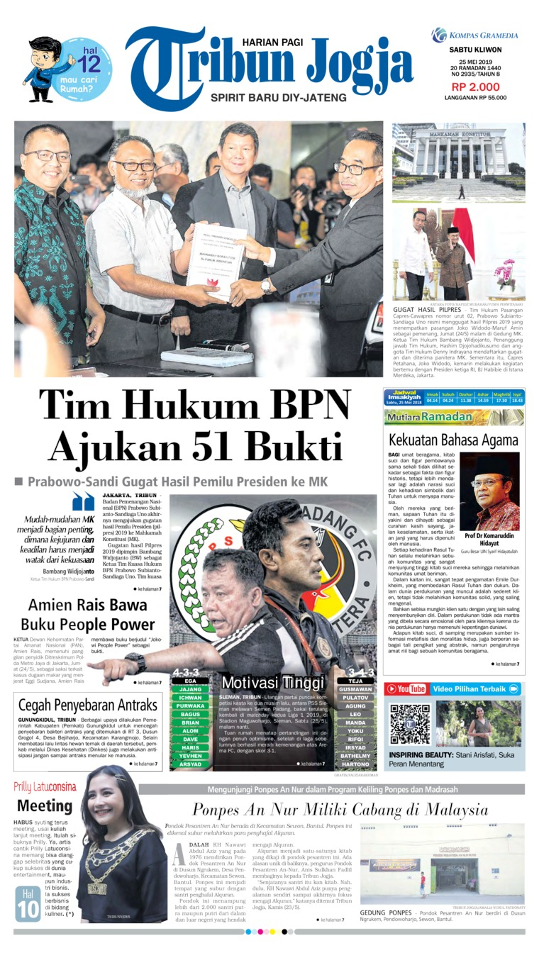 Tribun Jogja Digital Newspaper 25 May 2019
