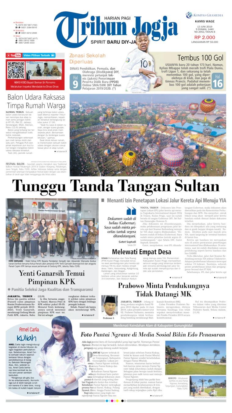 Tribun Jogja Digital Newspaper 13 June 2019