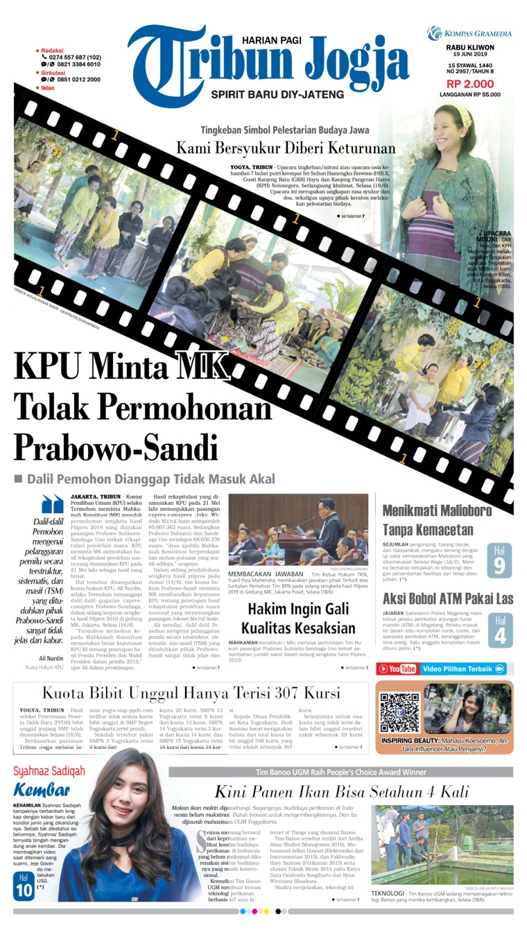 Tribun Jogja Digital Newspaper 19 June 2019