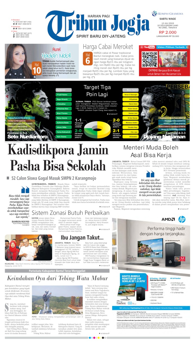 Tribun Jogja Digital Newspaper 13 July 2019