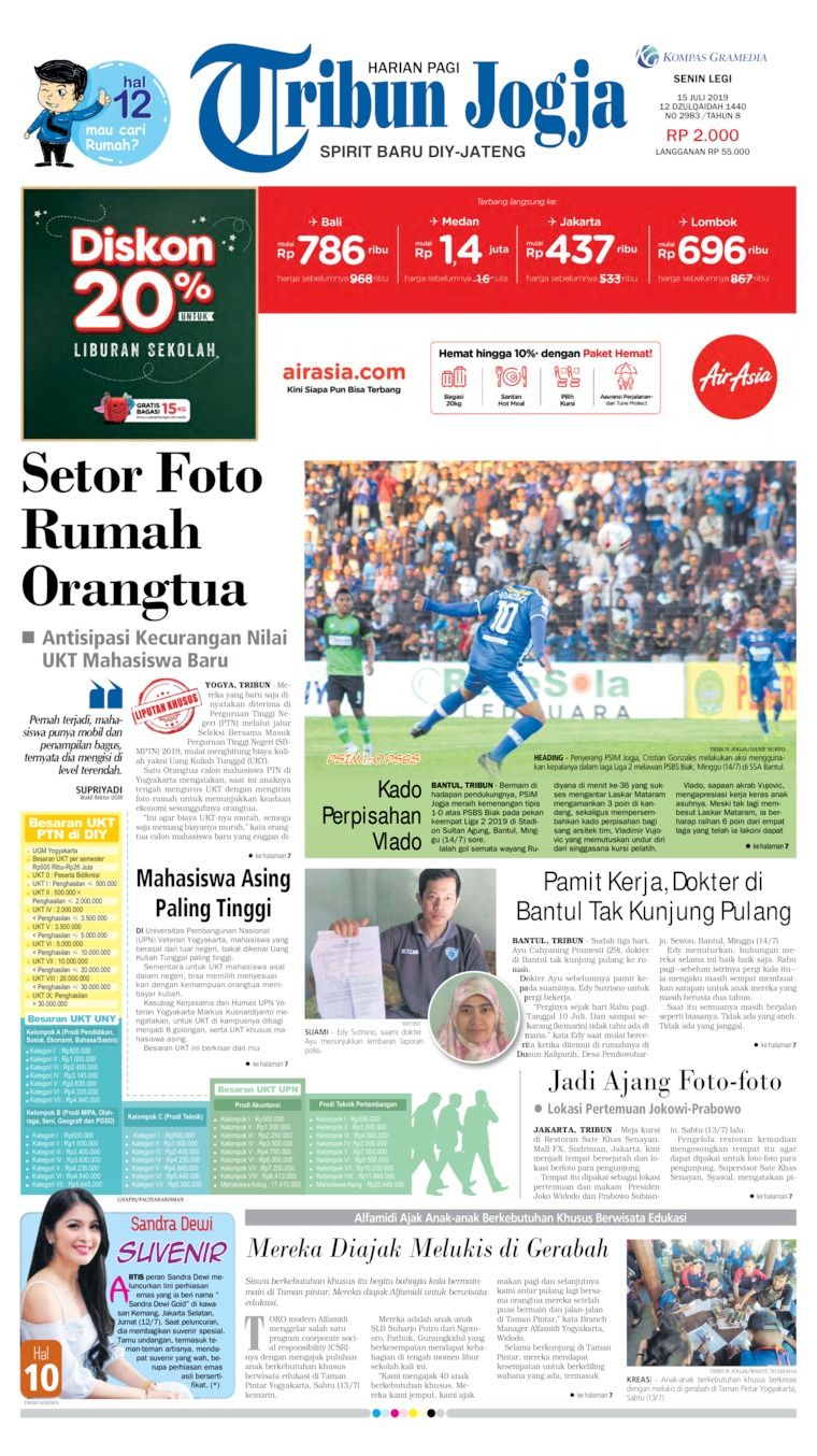 Tribun Jogja Digital Newspaper 15 July 2019