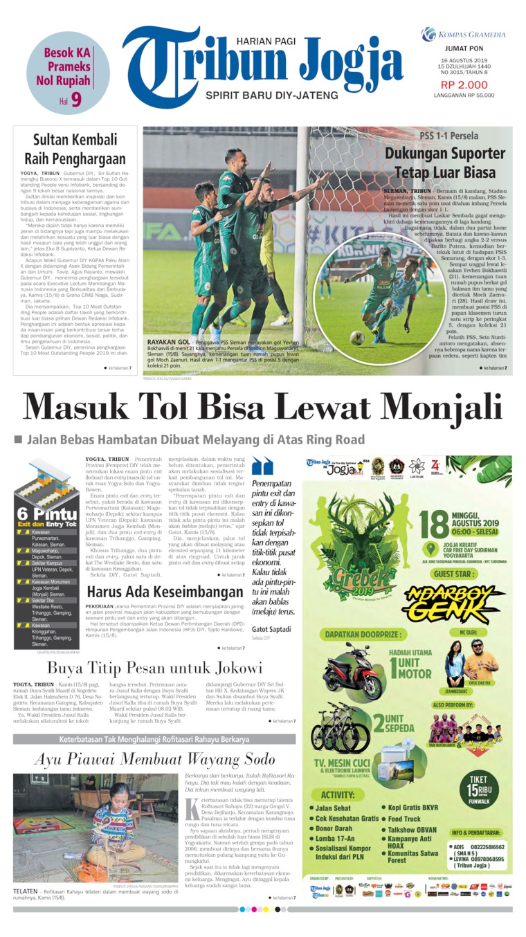 Tribun Jogja Digital Newspaper 16 August 2019