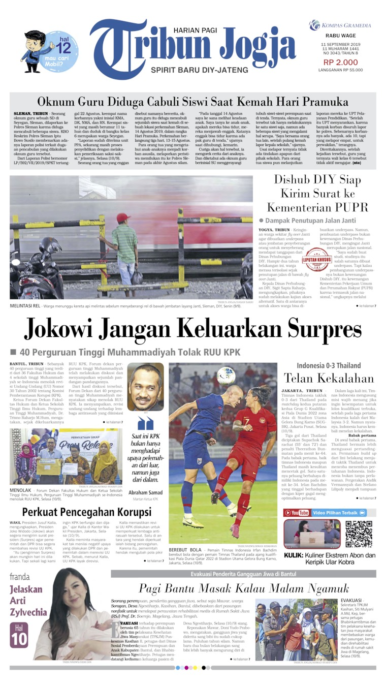 Koran Digital Tribun Jogja 11 September 2019