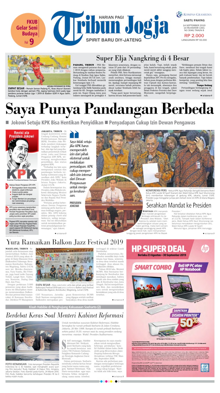 Tribun Jogja Digital Newspaper 14 September 2019