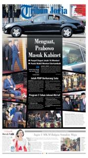Cover Tribun Jogja 21 Oktober 2019