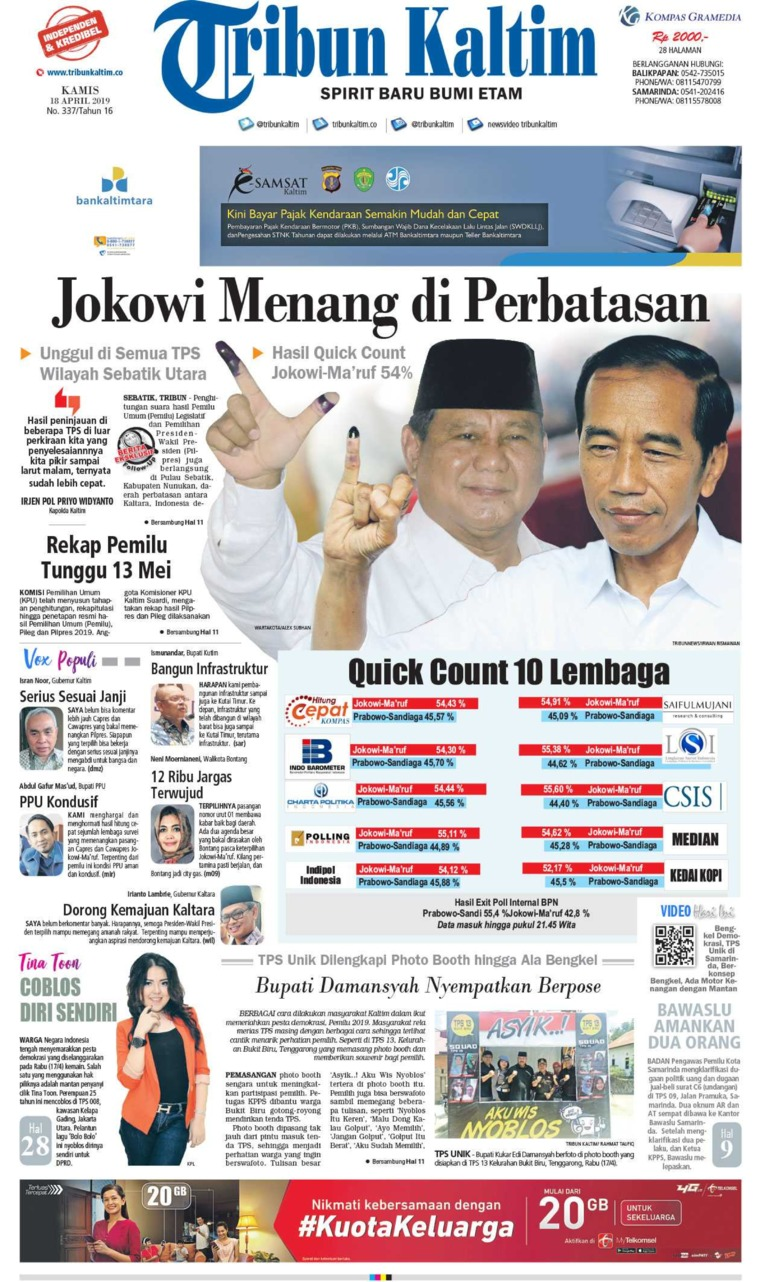 Tribun Kaltim Digital Newspaper 18 April 2019