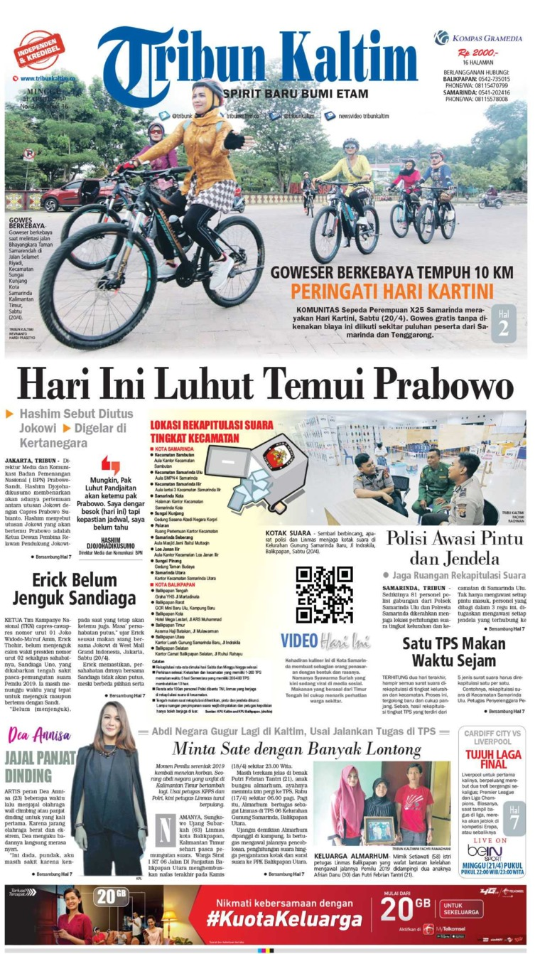 Tribun Kaltim Digital Newspaper 21 April 2019