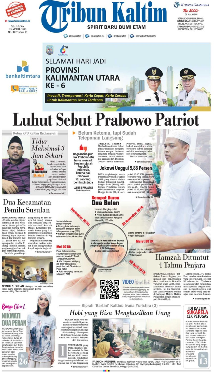 Tribun Kaltim Digital Newspaper 23 April 2019