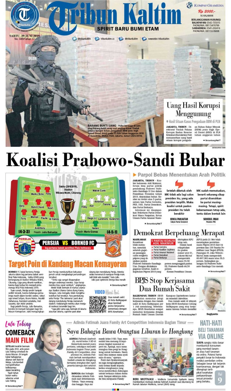 Tribun Kaltim Digital Newspaper 29 June 2019