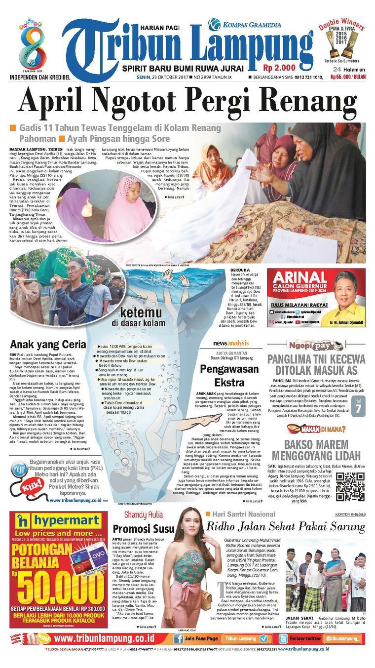 Koran Digital Tribun Lampung 23 Oktober 2017