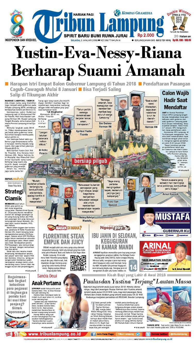 Tribun Lampung Digital Newspaper 02 January 2018