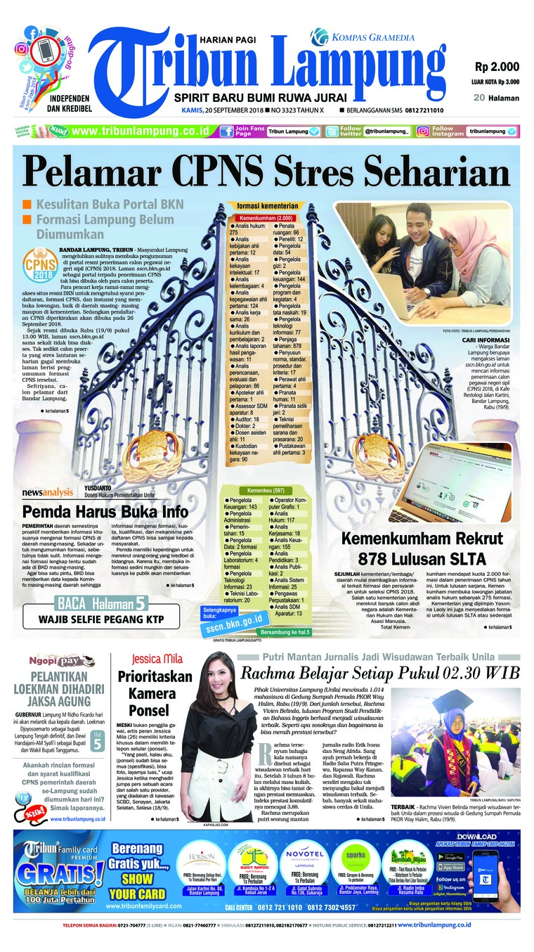 Koran Digital Tribun Lampung 20 September 2018