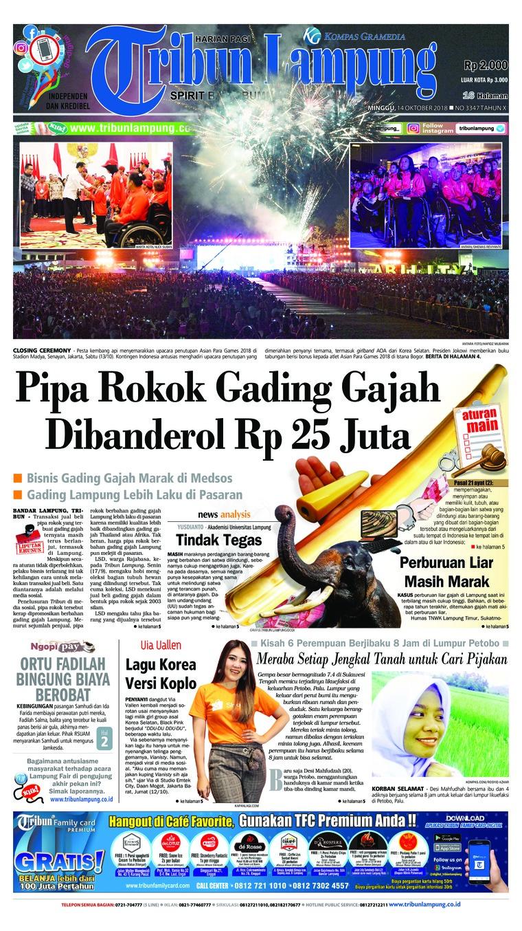 Tribun Lampung Newspaper 14 October 2018 Gramedia Digital