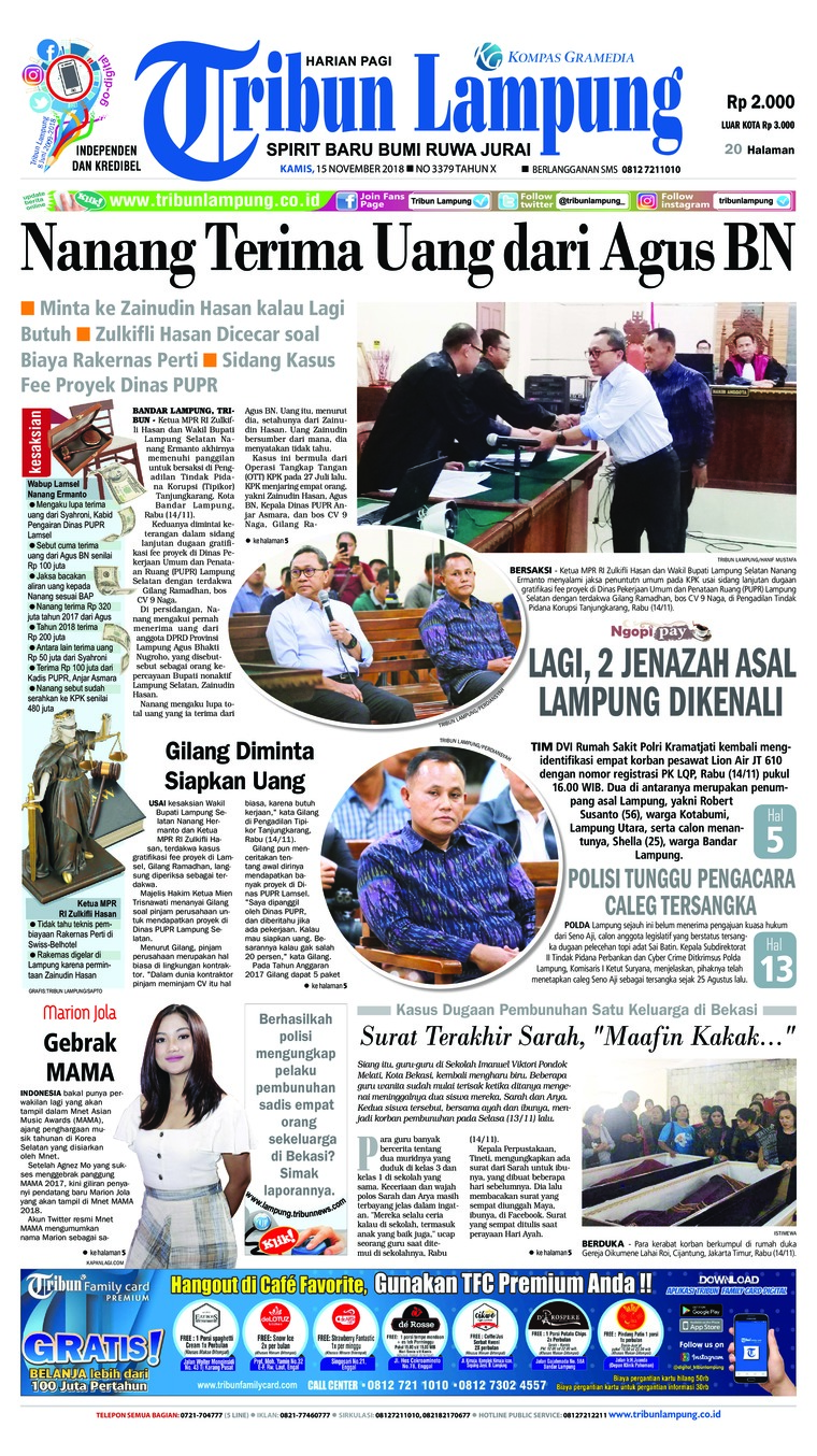 Koran Digital Tribun Lampung 15 November 2018