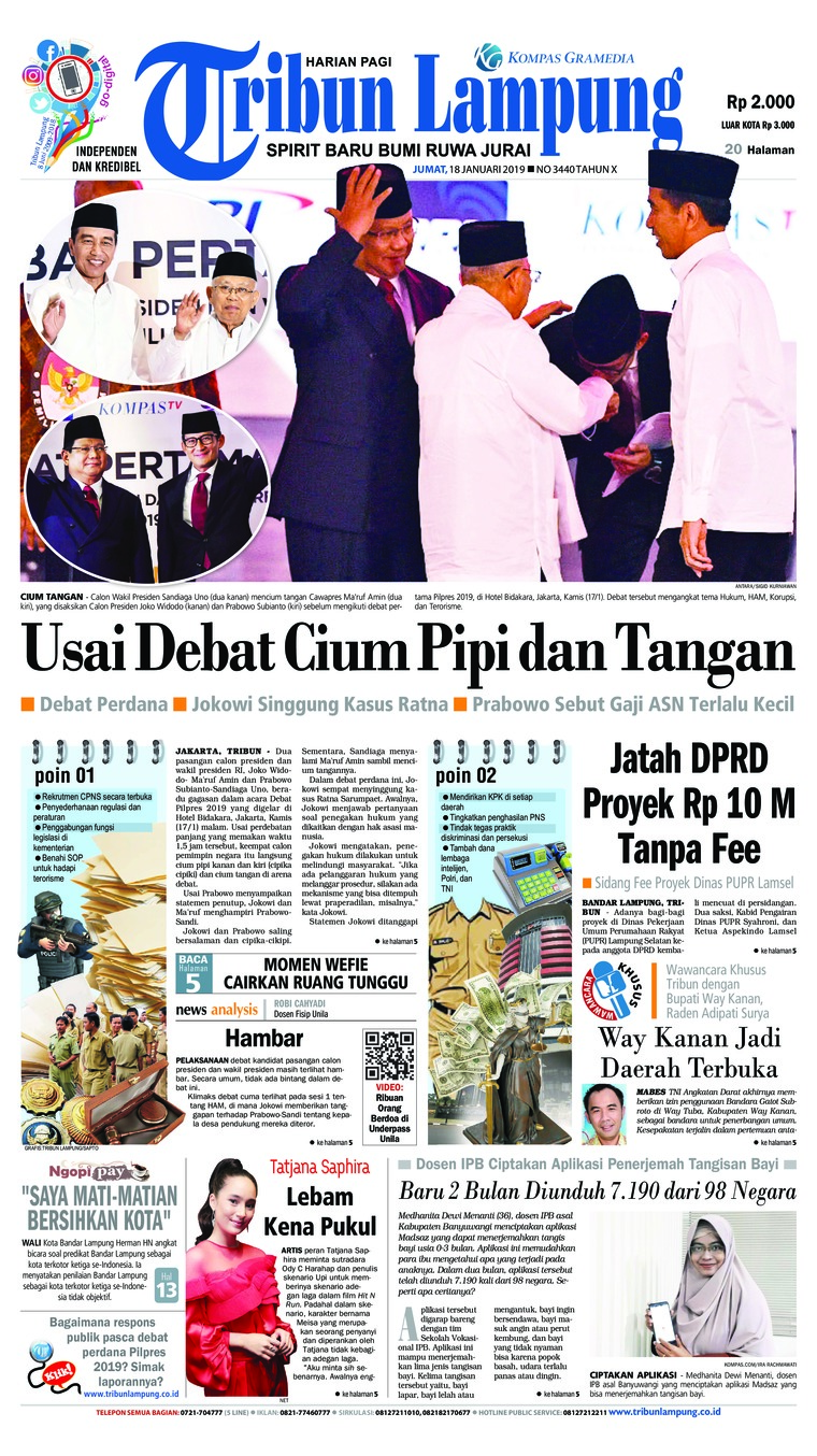 Tribun Lampung Digital Newspaper 18 January 2019