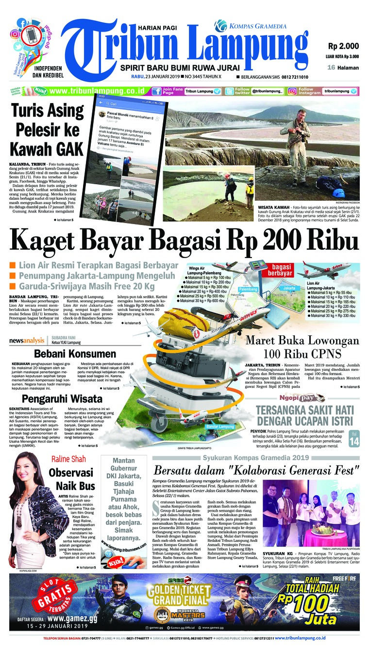 Koran Digital Tribun Lampung 23 Januari 2019