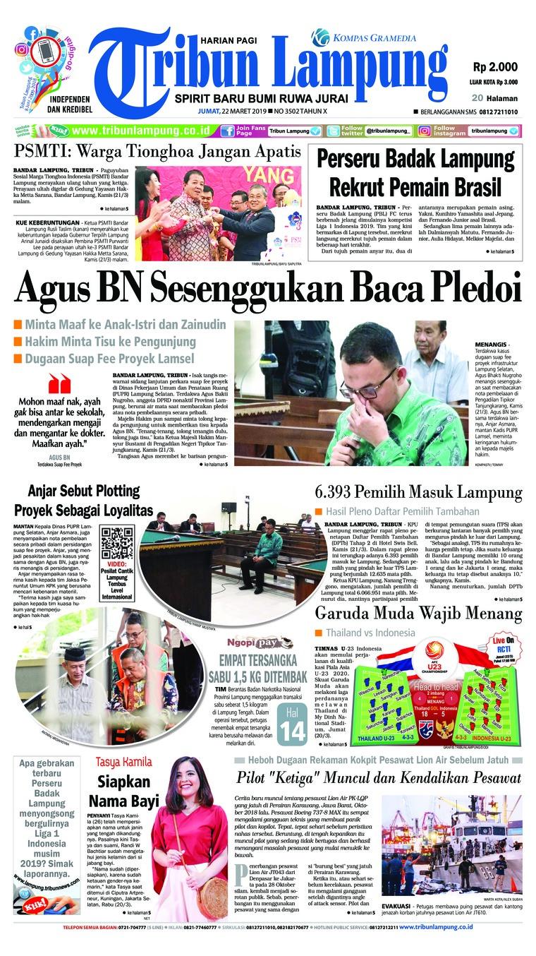 Koran Digital Tribun Lampung 22 Maret 2019