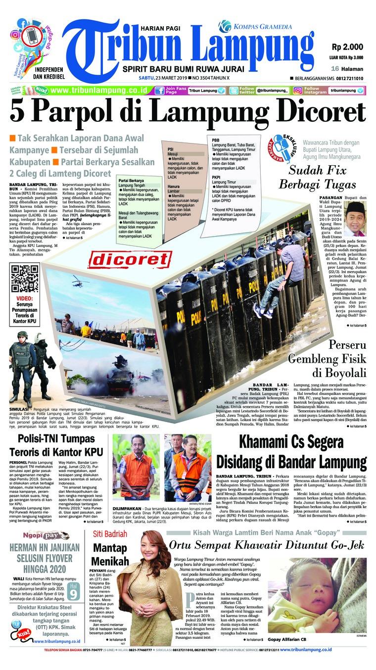 Koran Digital Tribun Lampung 23 Maret 2019