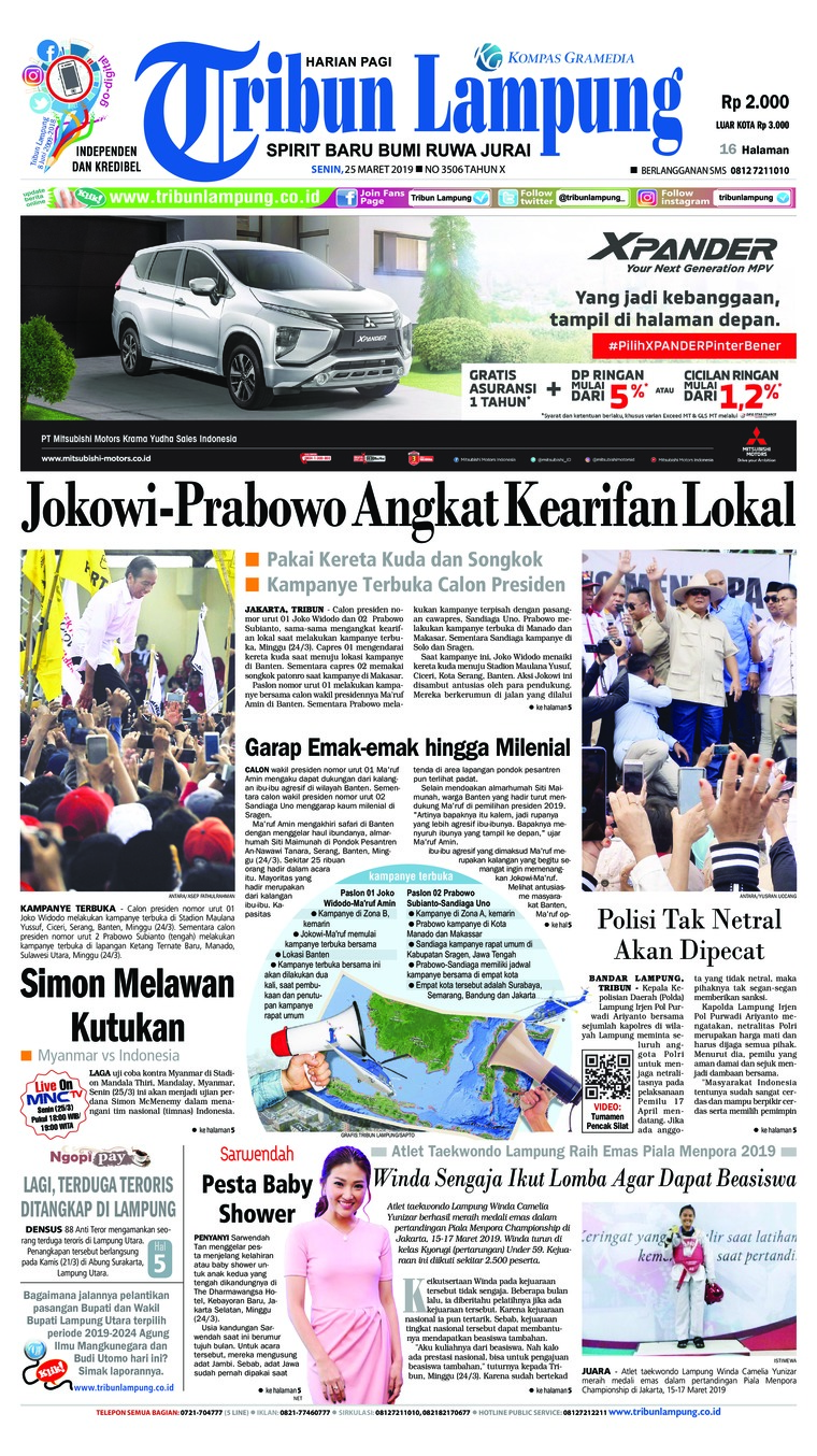 Tribun Lampung Digital Newspaper 25 March 2019