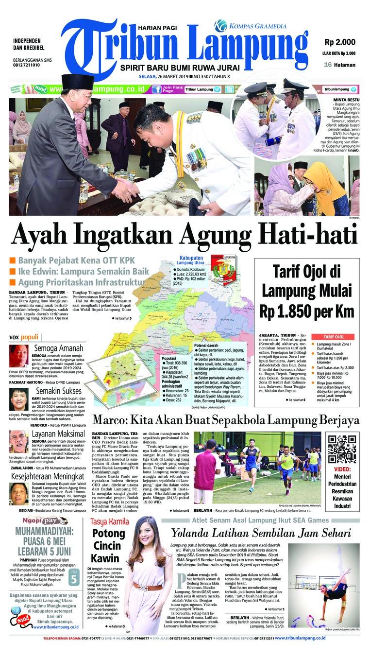 Tribun Lampung Digital Newspaper 26 March 2019