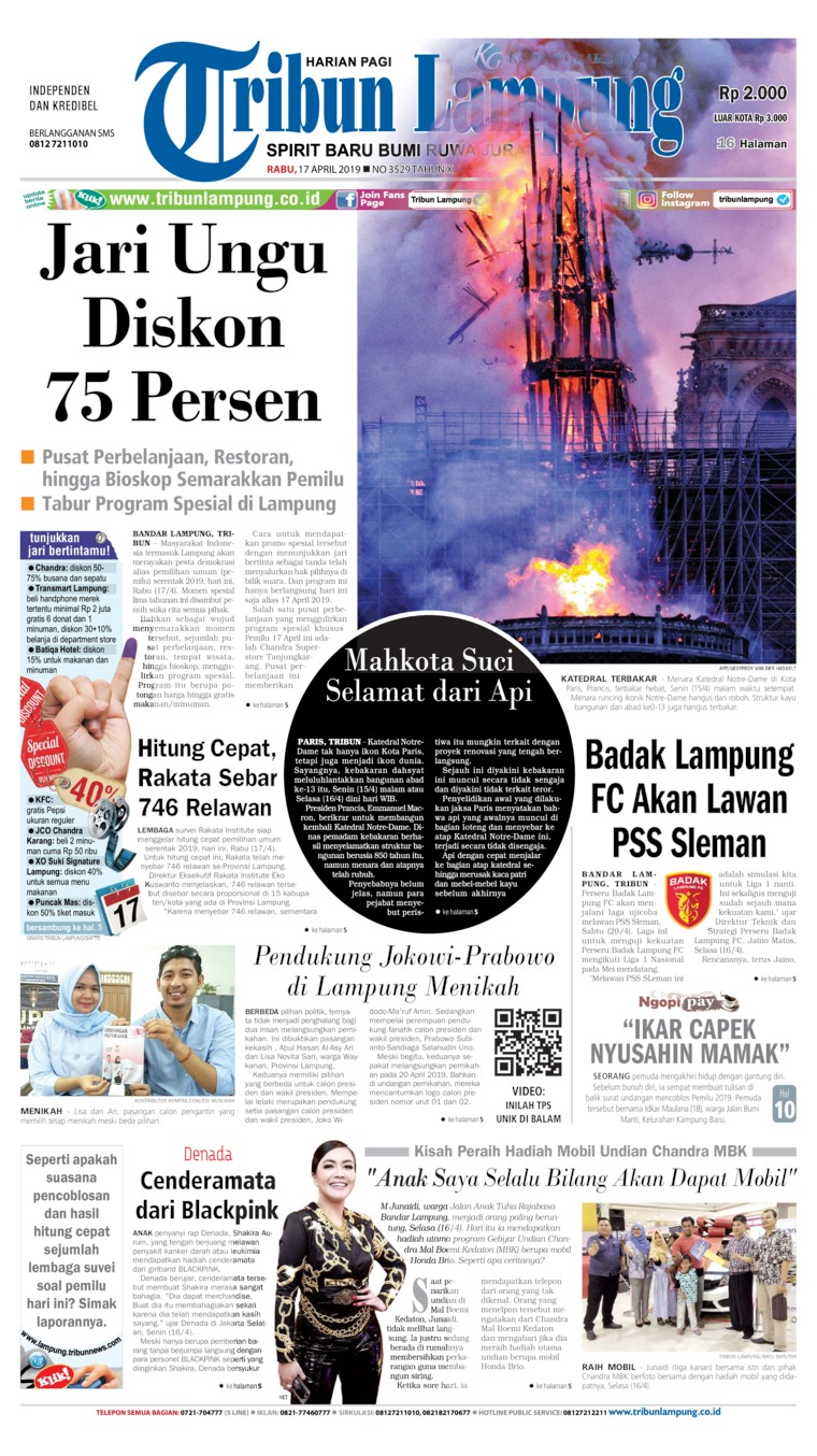 Tribun Lampung Digital Newspaper 17 April 2019