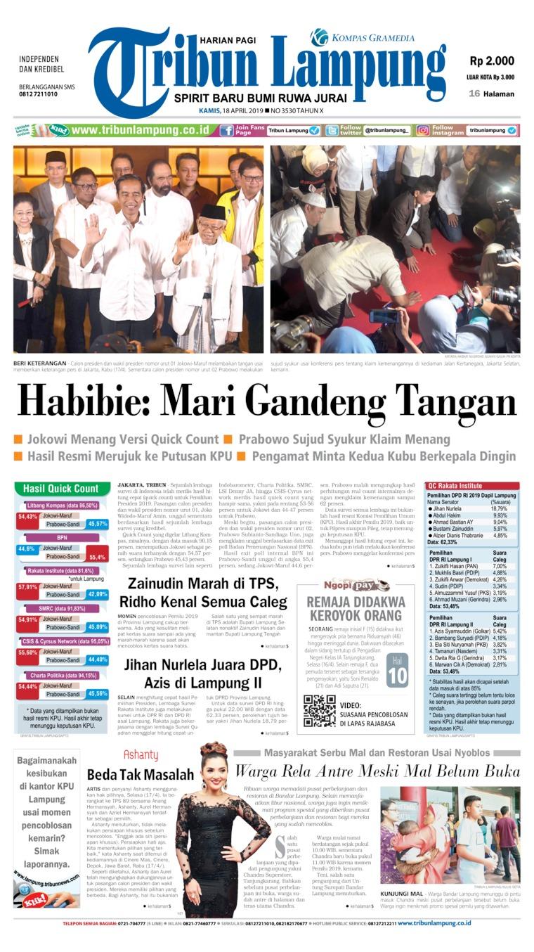 Koran Digital Tribun Lampung 18 April 2019