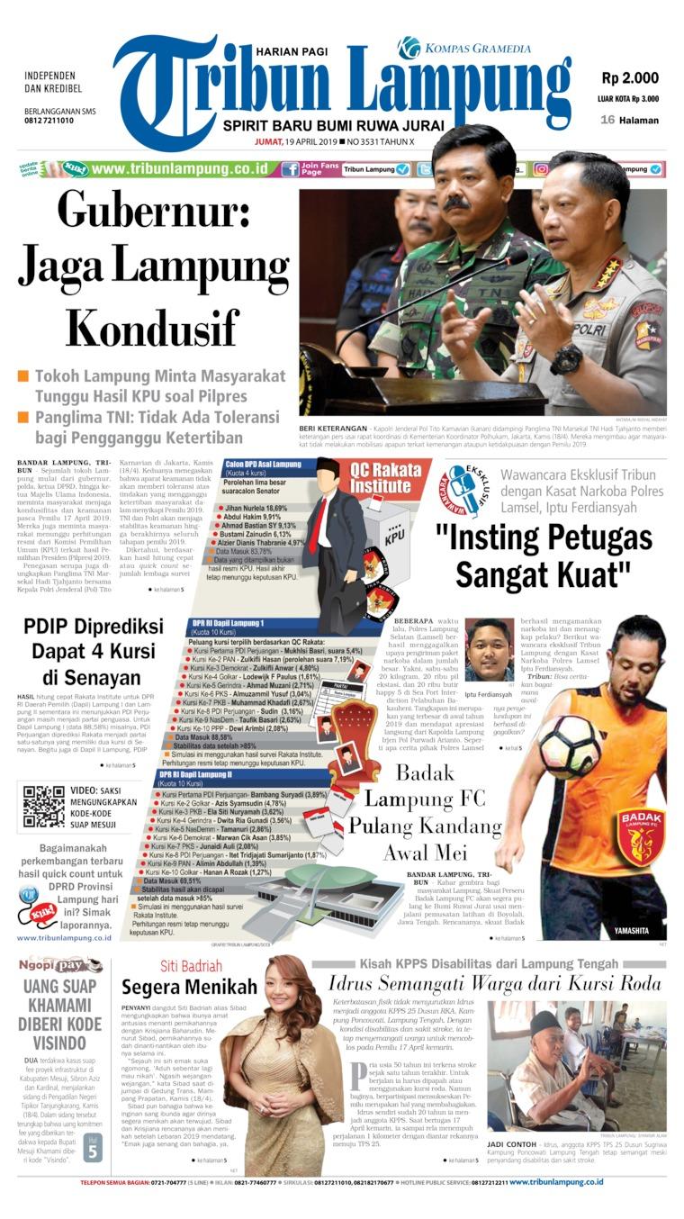 Tribun Lampung Digital Newspaper 19 April 2019