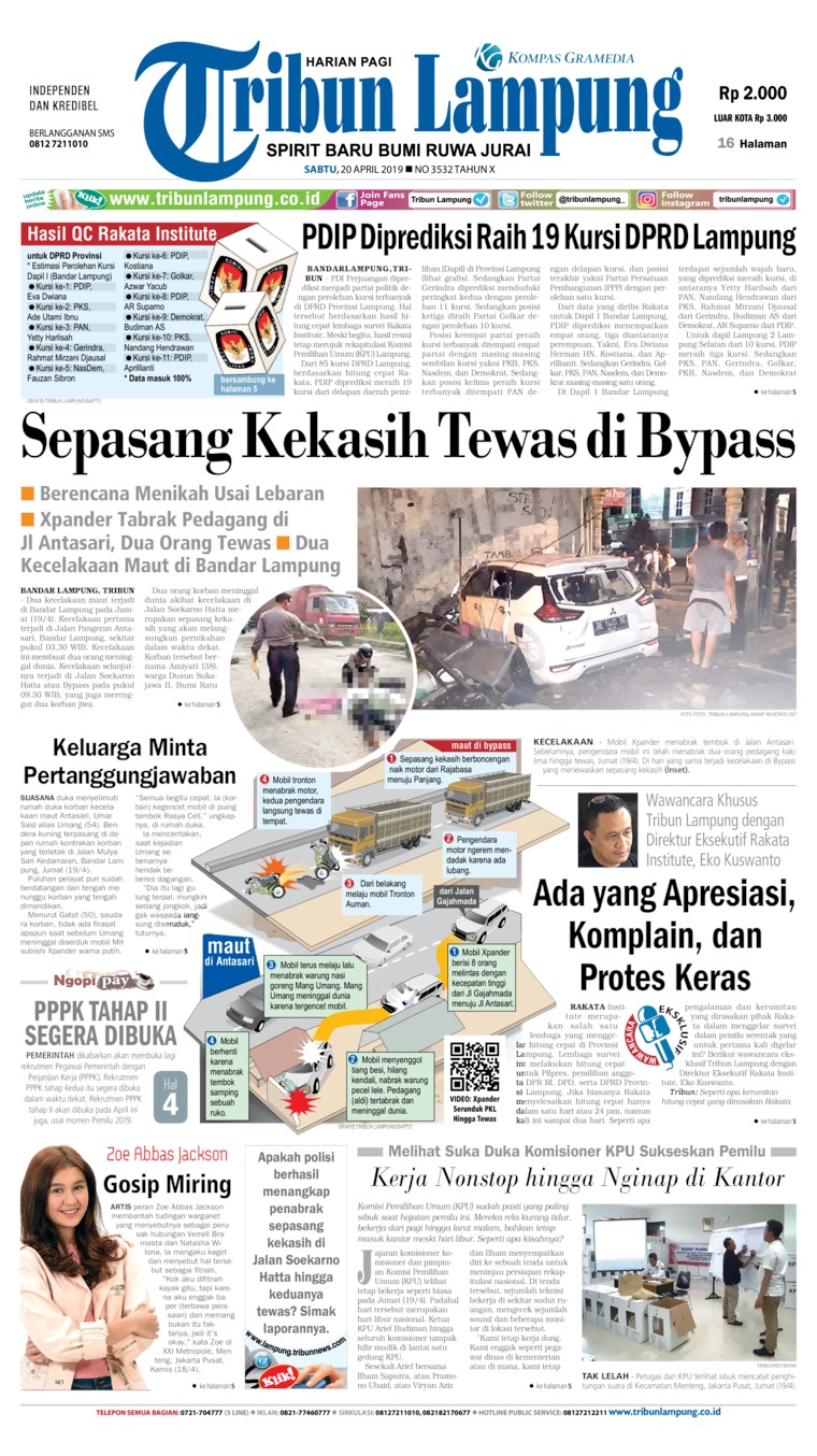Tribun Lampung Digital Newspaper 20 April 2019