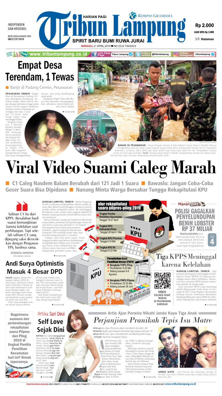 Koran Digital Tribun Lampung 21 April 2019