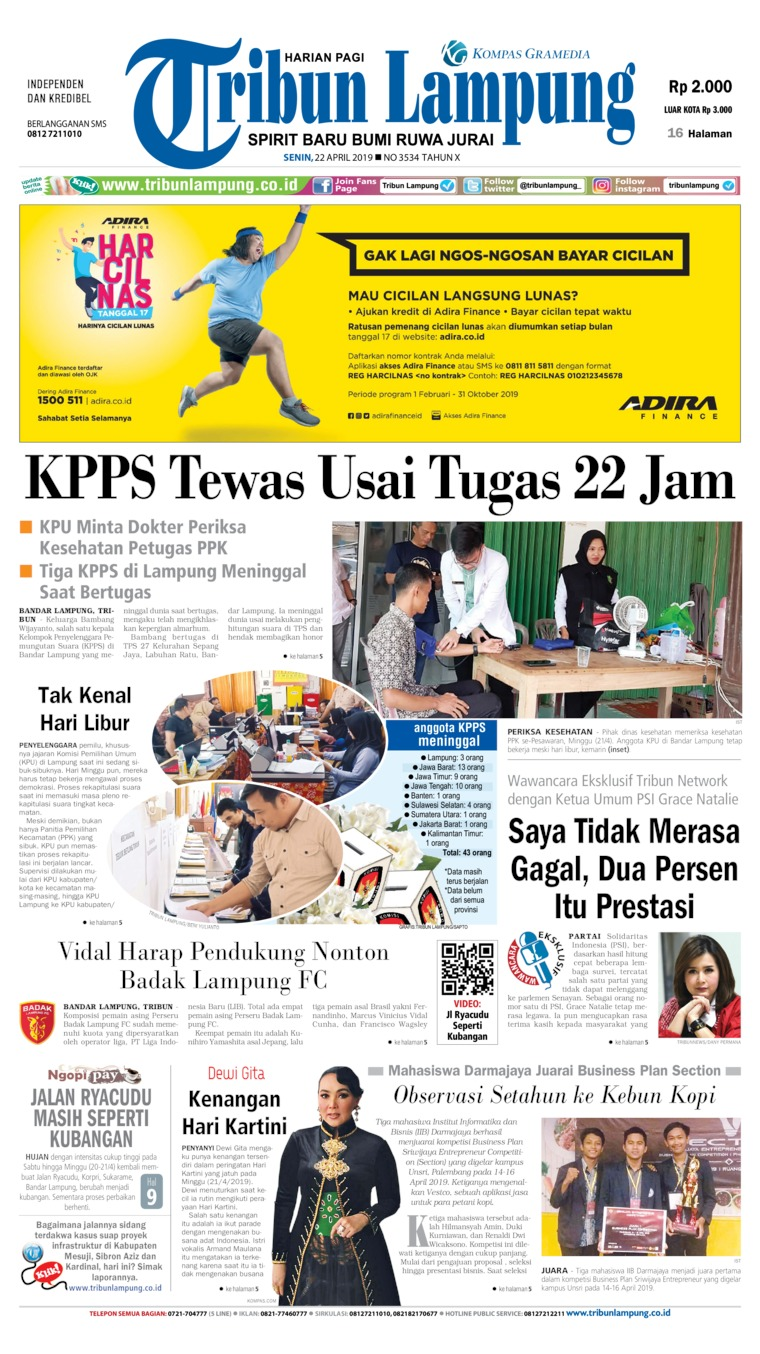 Tribun Lampung Digital Newspaper 22 April 2019