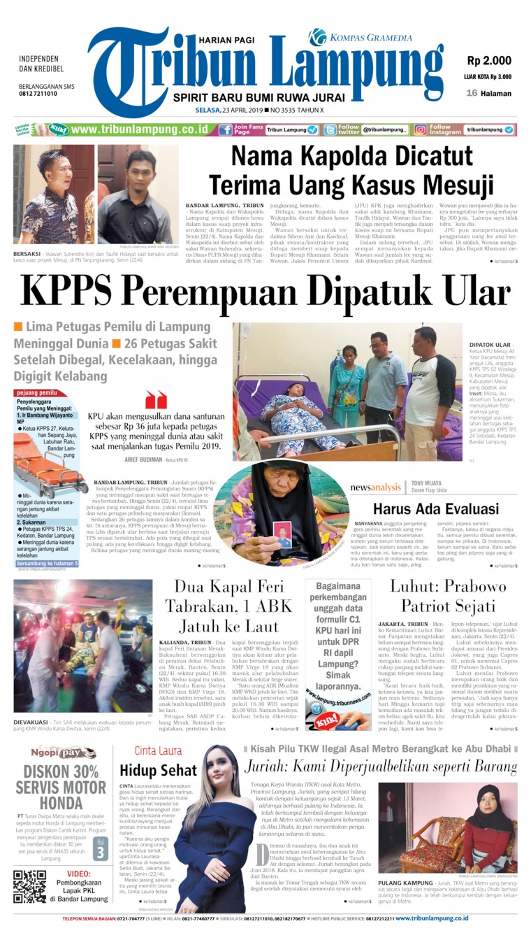 Tribun Lampung Digital Newspaper 23 April 2019