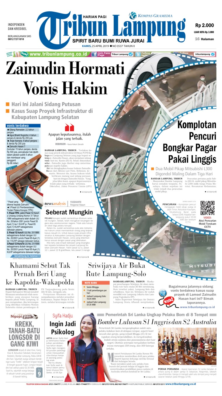 Koran Digital Tribun Lampung 25 April 2019