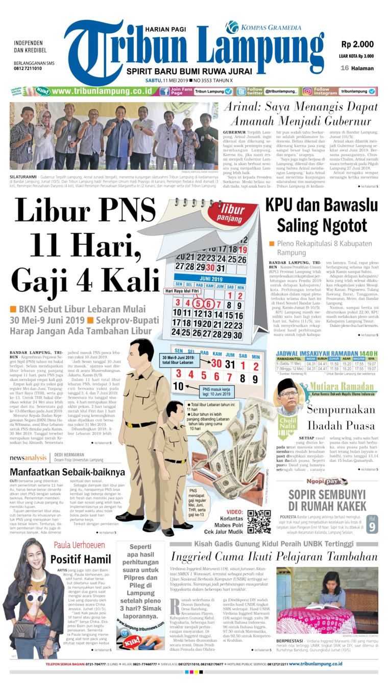 Tribun Lampung Newspaper 11 May 2019 - Gramedia Digital