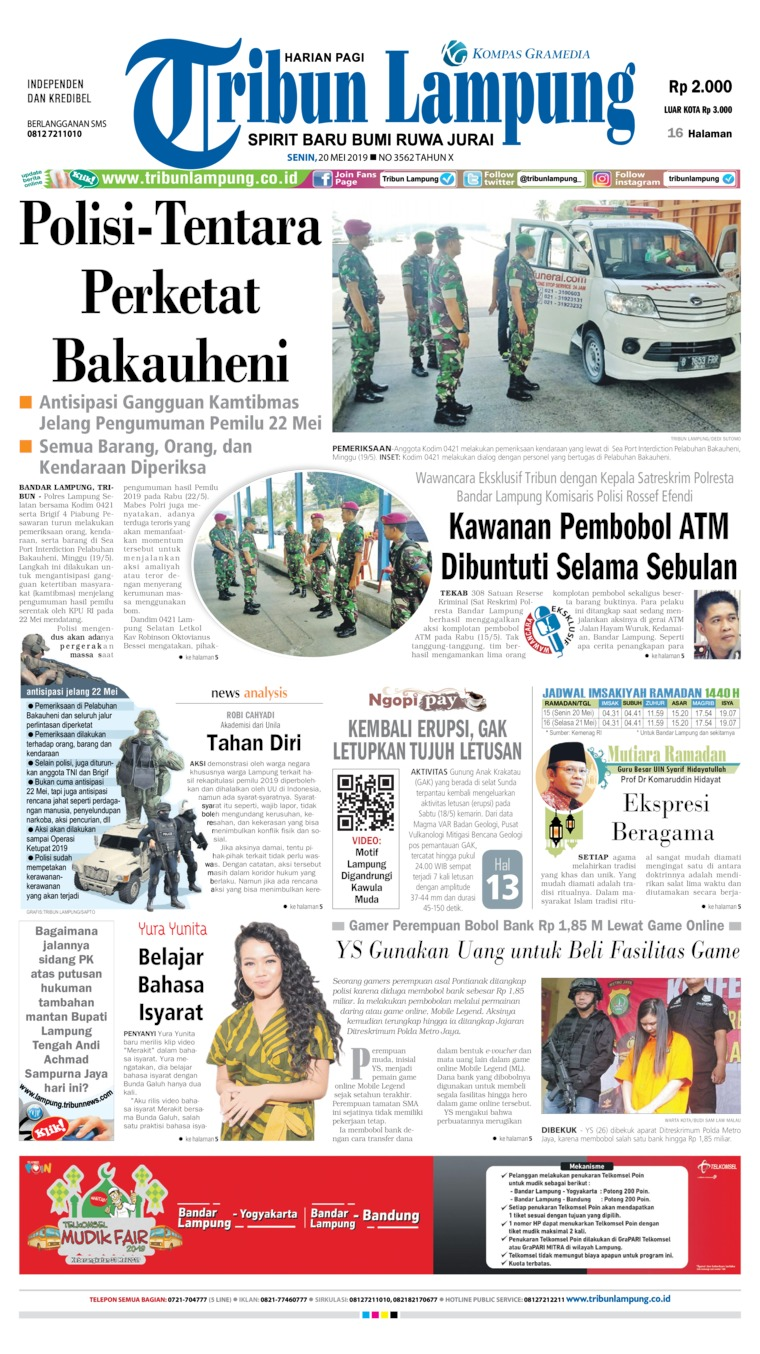 Tribun Lampung Digital Newspaper 20 May 2019