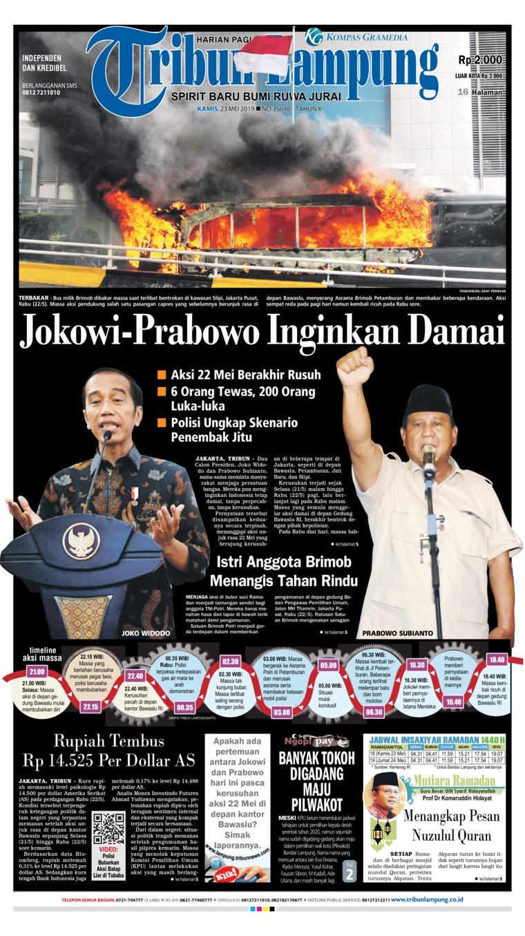 Tribun Lampung Digital Newspaper 23 May 2019