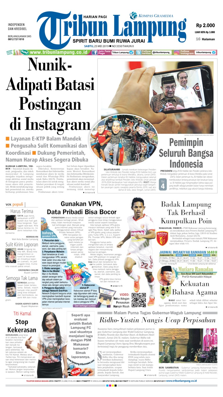 Koran Digital Tribun Lampung 25 Mei 2019