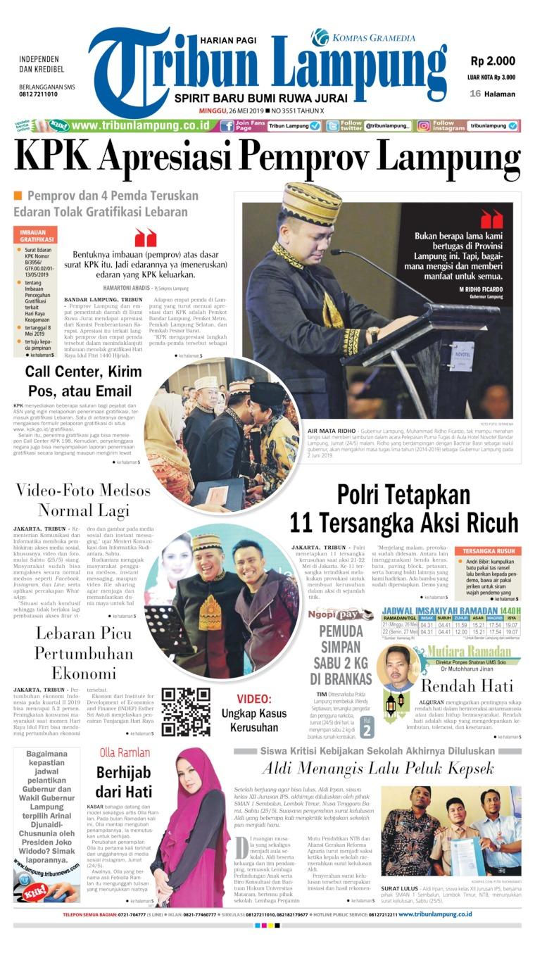 Tribun Lampung Digital Newspaper 26 May 2019