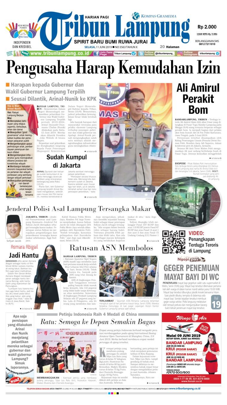 Tribun Lampung Digital Newspaper 11 June 2019