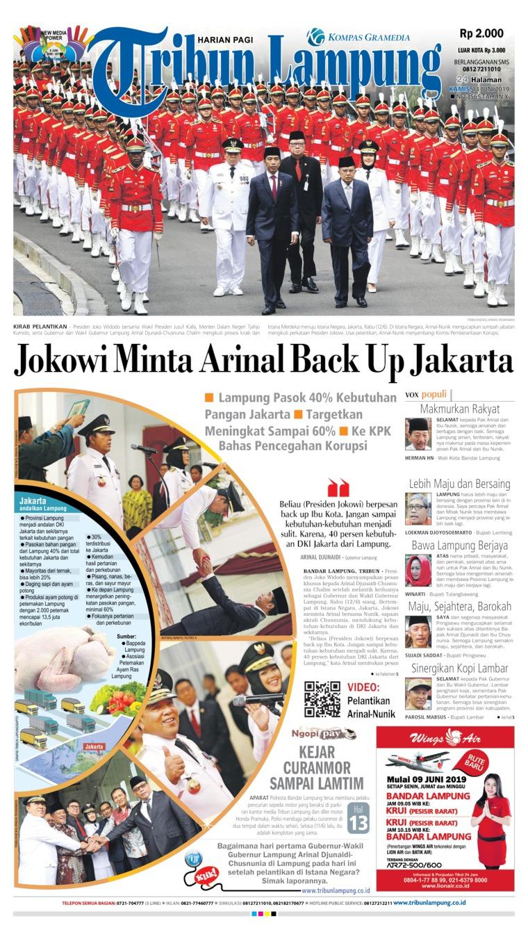 Tribun Lampung Digital Newspaper 13 June 2019